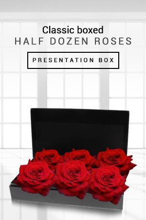 Melvin from Australia sent Classic Boxed Half Dozen Roses to Elizabeth in Australia